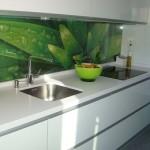 frente de cocina de cristal decorado